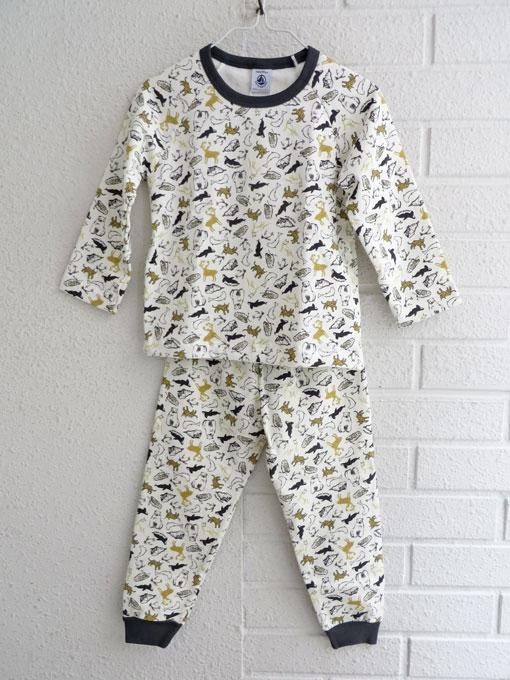 フランス子供服 PETIT BATEAU プチバトー 裏起毛プリント長袖パジャマ