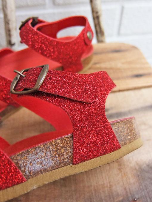 フランス子供服 BONTON ボントン German glittery sandals グリッタークロスレザーサンダル
