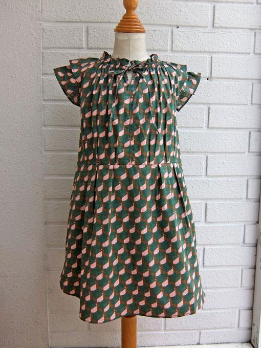 英国ブランド ロンドンブランド CARAMEL  キャラメル Nubia Dress, Mint Pink 幾何学プリントワンピース