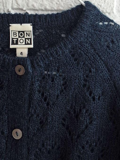 フランス子供服 BONTON 2019AW レース編みモヘアカーディガン