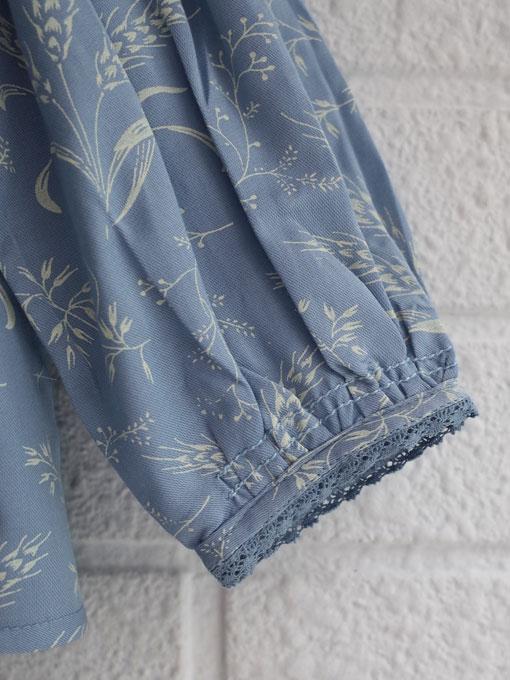 CARAMEL キャラメル Adikia Blouse, Wheat Print Crystal Blue プリントブラウス