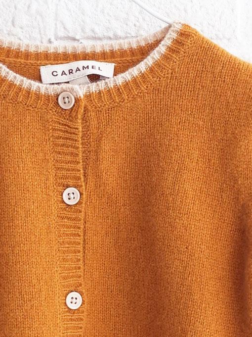CARAMEL キャラメル Hermione Baby Cardigan, Mustard ベビーニットカーディガン