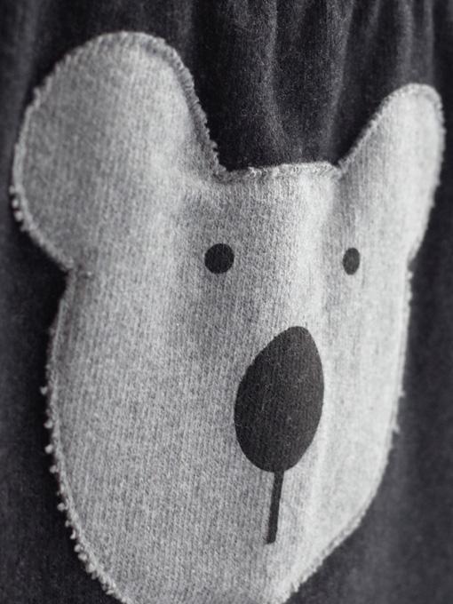 くまアップリケサルエルパンツ イタリアベビー服 OLIVE オリーブ