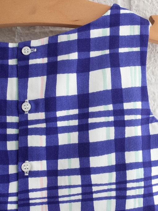 フランス子供服 bonpoint ボンポワン グラフィックチェック刺繍ワンピース