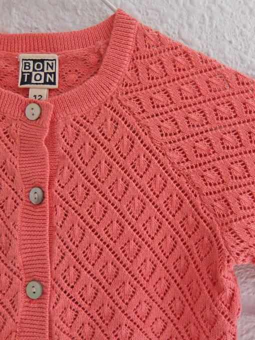 子ども服オッティ フランス子供服 BONTON ボントン ベビー 透かし編みカーディガン