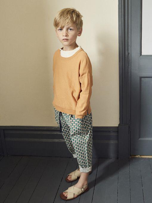 CARAMEL キャラメル caramel baby&child  Cornel Trouser, Emerald Geo プリントコットンパンツ
