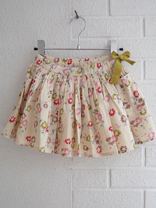 CARAMEL キャラメル caramel baby&child  Iris Skirt, Painted Flower Print Cream プリントフレアスカート