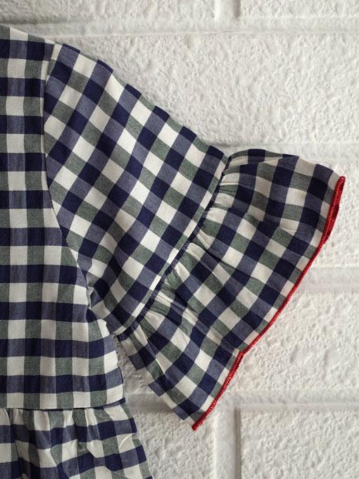 イタリア子供服 OLIVE オリーブギンガムドレス(アネモネブローチ付き)