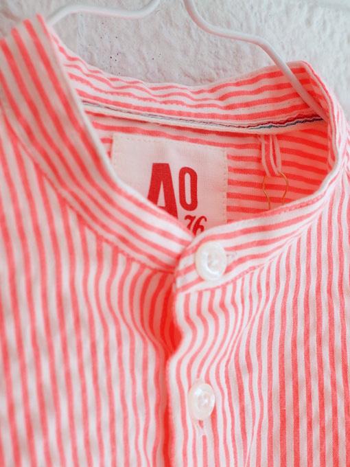 AO76 アメリカンアウトフィッターズ ボーイズ マオカラーストライプシャツ