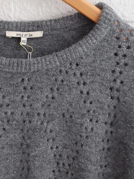 emile et ida woman 透かし編みラメニットセーター
