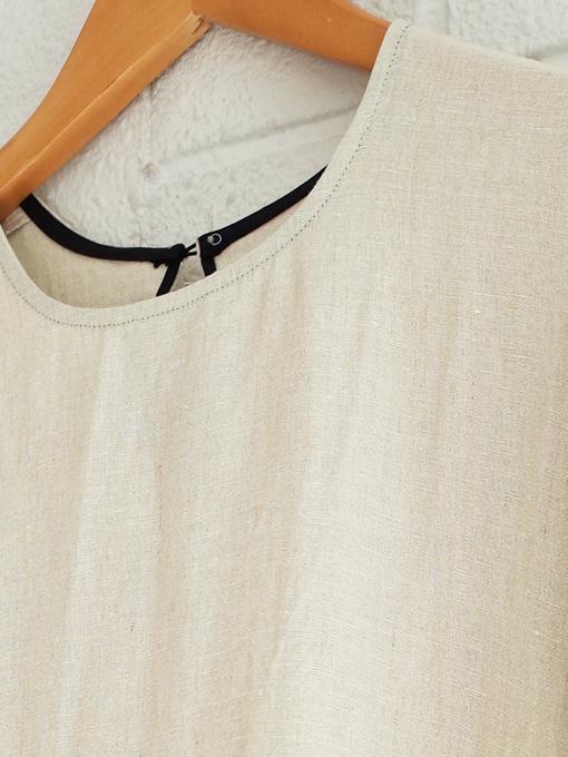 Le vestiaire de jeanne VDJ Long pleated dress long sleeves natural linen リネン長袖ギャザーロングワンピース