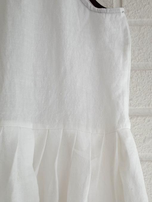 Le vestiaire de jeanne VDJ Long pleated dress, sleeveless, linen  リネンノースリーブギャザーワンピース