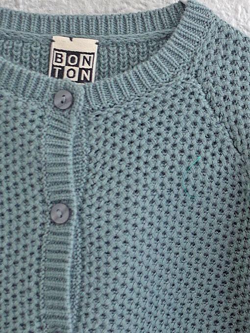 フランス子供服 BONTON コットンュカーディガン メッシュカーディガン