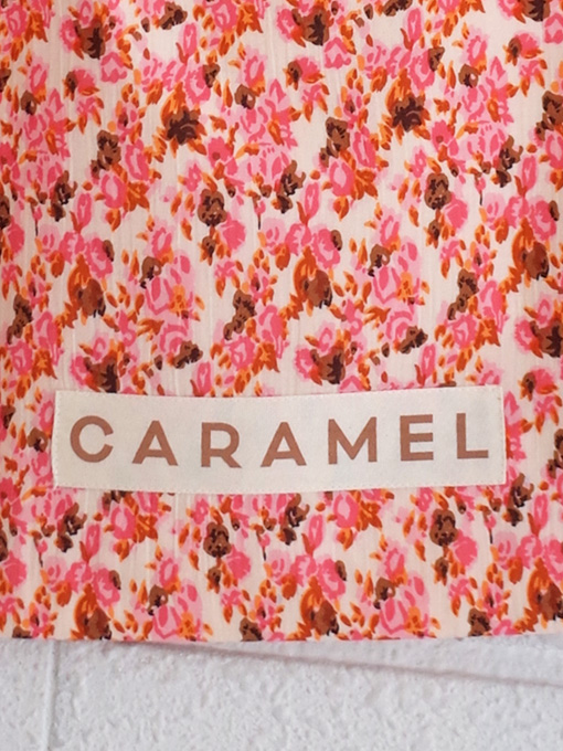 CARAMEL Shell Tote Bag, Bright Pink Floral キャラメル 英国子供服 フラワープリントコットントートバッグ