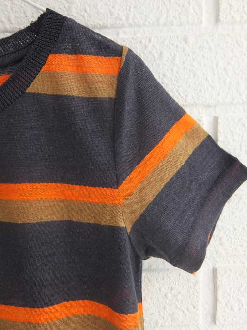 bellerose kids ベルローズキッズ ボーイズリネンジャージーボーダーTシャツ