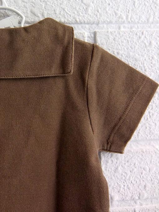 フランス子供服 PETIT BATEAU プチバトー コットンピケ衿付き半袖プルオーバ−